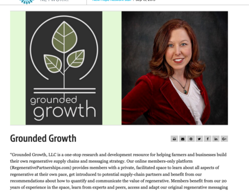 Grounded Growth Named As Key Organization Moving Regenerative Agriculture Forward
